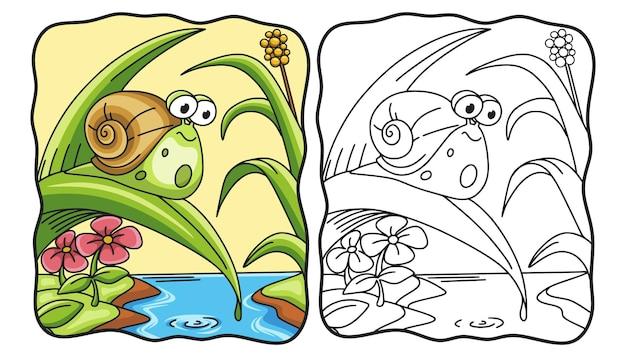 Cartoon illustratie slak lopen op boombladeren kleurboek of pagina voor kinderen zwart-wit