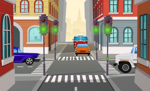Cartoon illustratie stad kruispunt met groene verkeerslichten en auto's, kruising van wegen