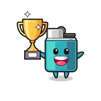 Cartoon illustratie van aansteker is blij met het omhoog houden van de gouden trofee, schattig ontwerp
