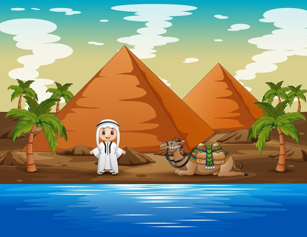 Cartoon illustratie van arabische jongen met een kameel die bij de rivier rust