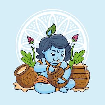 Cartoon illustratie van baby krishna die boter eet