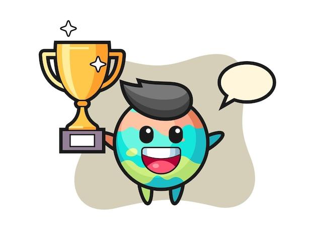 Cartoon illustratie van badbom is blij met het omhoog houden van de gouden trofee, schattig stijlontwerp voor t-shirt, sticker, logo-element