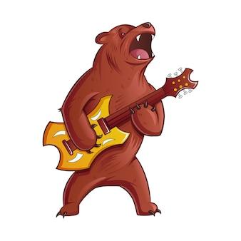 Cartoon illustratie van beer gitaar spelen.