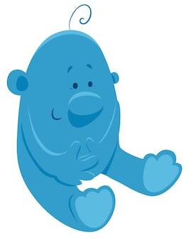 Cartoon illustratie van blauwe fantasie karakter