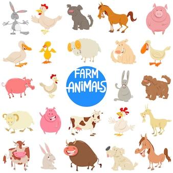 Cartoon illustratie van boerderij dieren tekens instellen