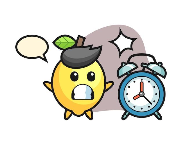 Cartoon illustratie van citroen is verrast met een gigantische wekker