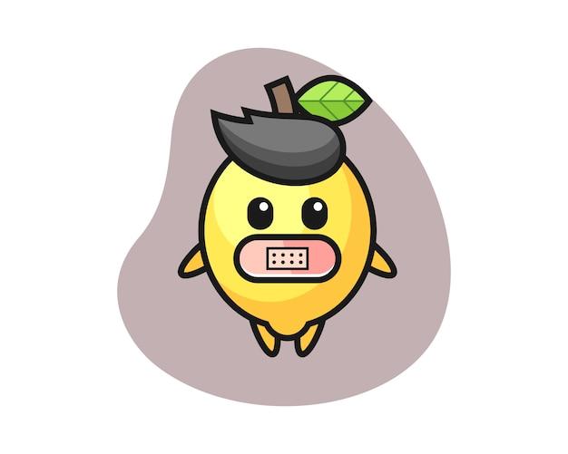 Cartoon illustratie van citroen met tape op mond