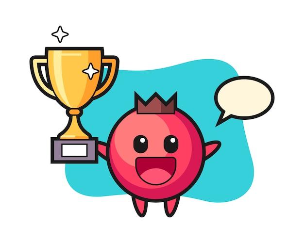 Cartoon illustratie van cranberry is blij met de gouden trofee, schattige stijl, sticker, logo-element