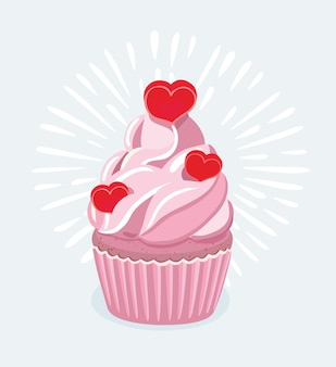 Cartoon illustratie van cupcake versierd met een hartvormige cake pick