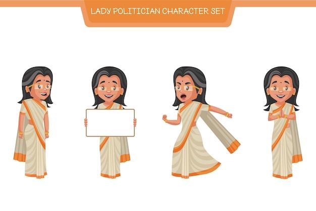 Cartoon illustratie van dame politicus tekenset