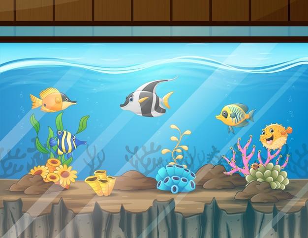 Cartoon illustratie van de aquariumtank met vissen en koraal