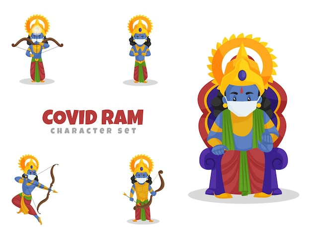 Cartoon illustratie van de covid ram-tekenset