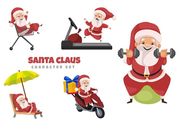 Cartoon illustratie van de kerstman tekenset