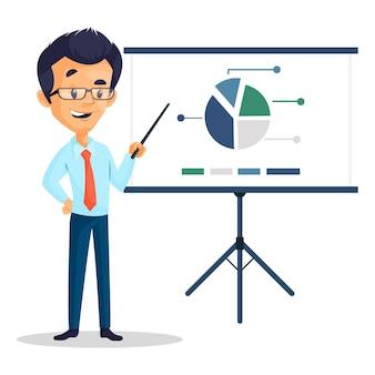 Cartoon illustratie van de man die stok in de hand houdt en een presentatie geeft