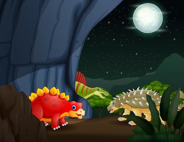 Cartoon illustratie van dinosaurussen in de natuur