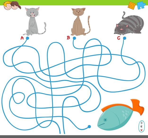 Cartoon illustratie van doolhof puzzelspel met katten