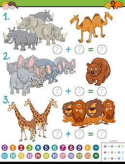 Cartoon illustratie van educatieve wiskundige toevoeging puzzelspel voor kinderen