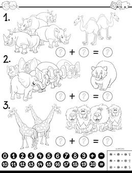 Cartoon illustratie van educatieve wiskundige toevoeging spel voor kinderen