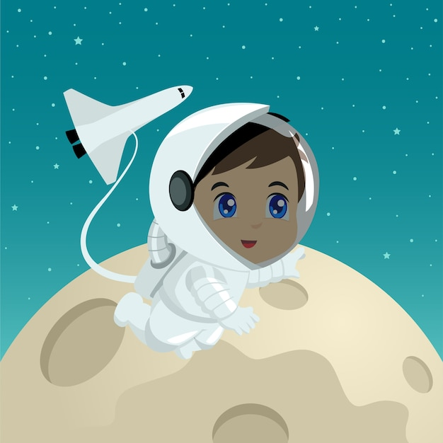Cartoon illustratie van een astronaut