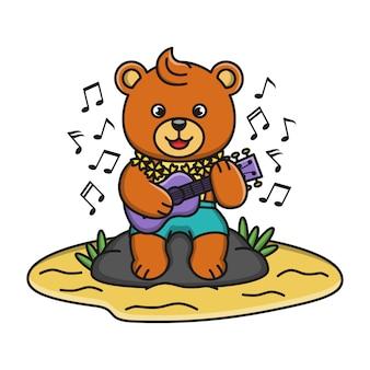 Cartoon illustratie van een beer gitaar spelen