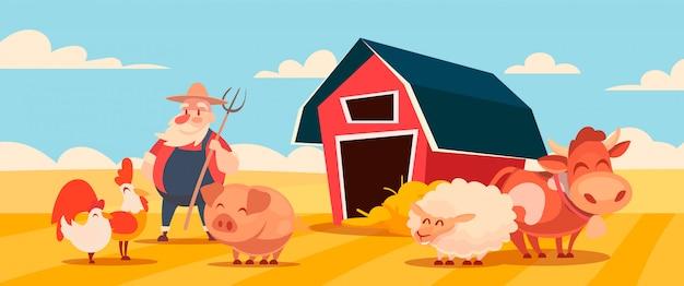 Cartoon illustratie van een boerderij met een schuur, dieren en een boer.