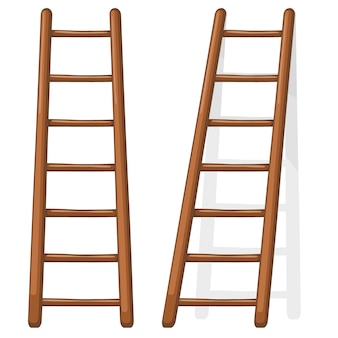 Cartoon illustratie van een houten trap