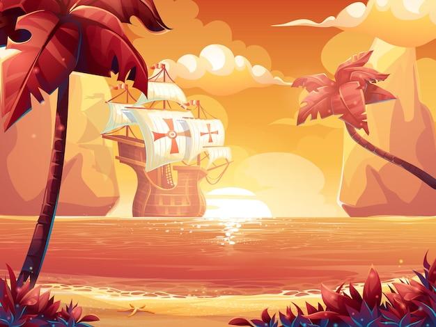 Cartoon illustratie van een karmozijnrode zon, zonsopgang of zonsondergang op zee met galjoen.