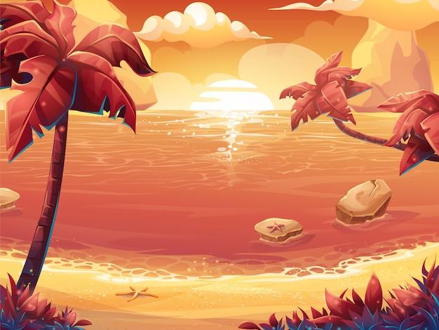 Cartoon illustratie van een karmozijnrode zon, zonsopgang of zonsondergang op zee met palmbomen.