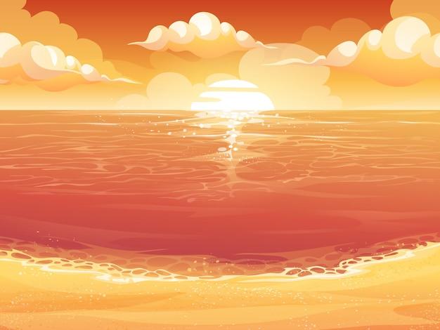 Cartoon illustratie van een karmozijnrode zon, zonsopgang of zonsondergang op zee.