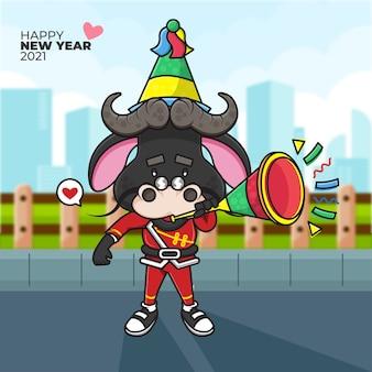 Cartoon illustratie van een os een feestmuts opzetten en blazen op de trompet met gelukkig nieuwjaar