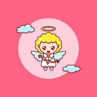 Cartoon illustratie van een schattige engel vliegen met een pijl en boog