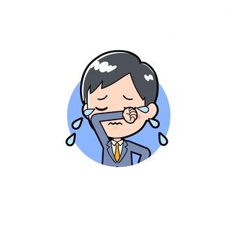 Cartoon illustratie van een zakenman cry