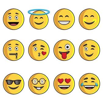 Cartoon illustratie van emoji set.