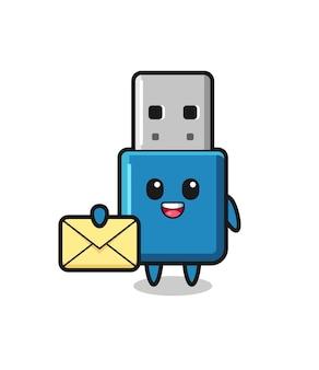 Cartoon illustratie van flash drive usb met een gele letter, schattig stijlontwerp voor t-shirt, sticker, logo-element