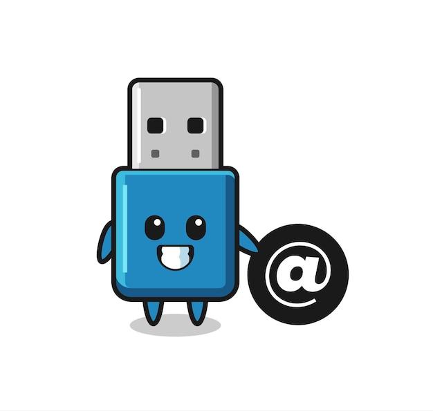 Cartoon illustratie van flash drive usb staande naast het at-symbool, schattig stijlontwerp voor t-shirt, sticker, logo-element