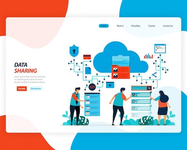 Cartoon illustratie van gegevensuitwisseling technologie, externe werknemer, netwerkindustrie, mensen verzenden werkbestand. cloudverbetering om te uploaden is effectief.