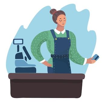 Cartoon illustratie van glimlachend kassier meisje met plastic creditcard in haar hand.