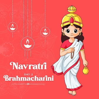 Cartoon illustratie van godin bramacharini maa voor navratri banner dag één van navratri festival
