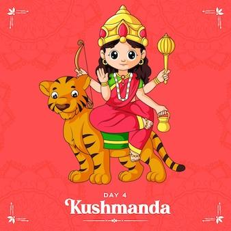 Cartoon illustratie van godin kushmanda maa voor navratri banner dag één van navratri festival