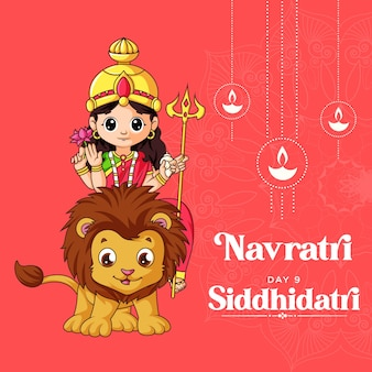 Cartoon illustratie van godin siddhiratri maa voor navratri banner dag één van navratri festival