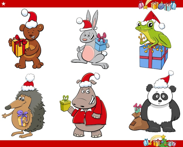 Cartoon illustratie van grappige dierlijke karakters op kersttijd set