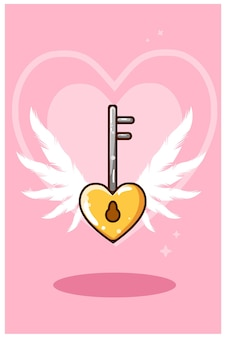 Cartoon illustratie van hartvormige sleutelhanger