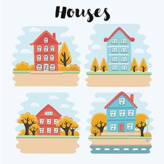Cartoon illustratie van herfst landschap met huis Premium Vector