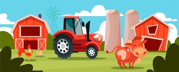Cartoon illustratie van het leven op een boerderij met dieren en een rode trekker.