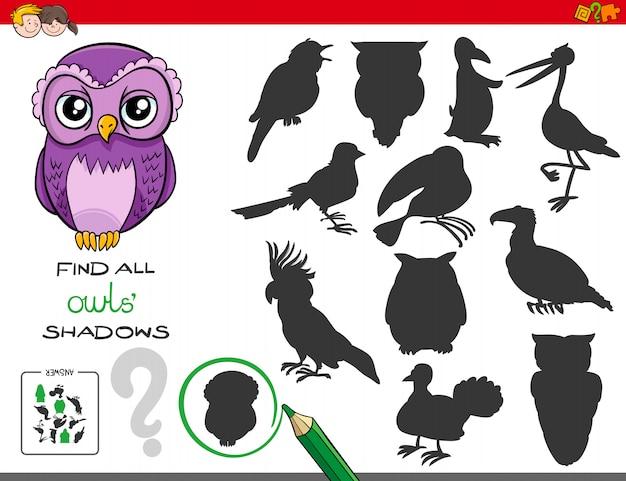 Cartoon illustratie van het vinden van alle uilen schaduwen educatieve activiteit voor kinderen