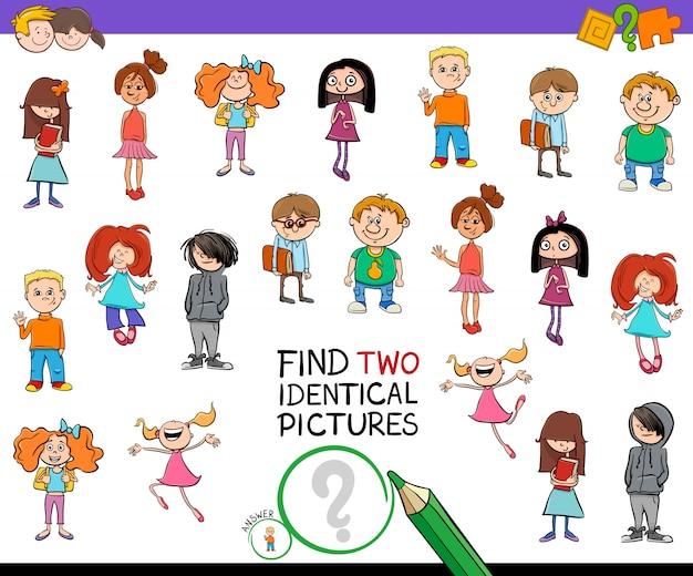 Cartoon illustratie van het vinden van twee identieke foto's educatief spel met meisje en jongen
