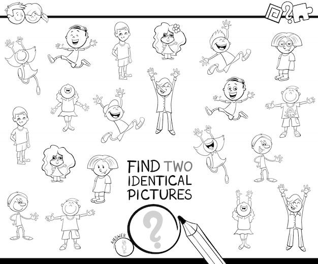 Cartoon illustratie van het vinden van twee identieke foto's