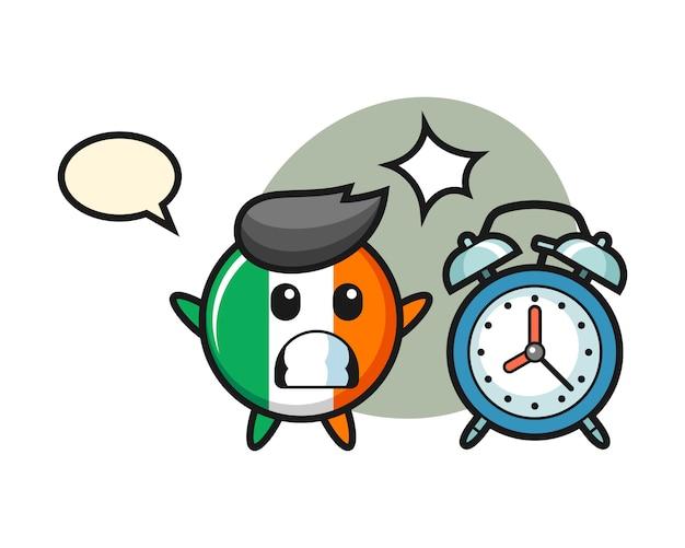 Cartoon illustratie van ierland vlag badge is verrast met een gigantische wekker