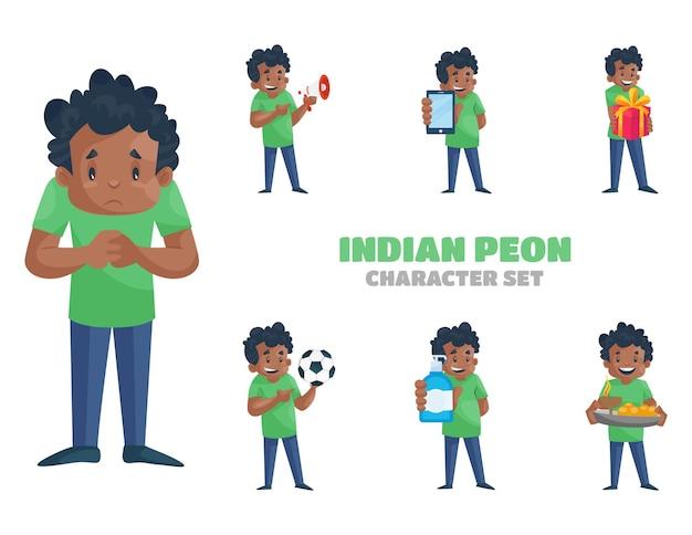 Cartoon illustratie van indiase peon tekenset