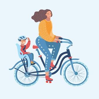 Cartoon illustratie van jonge vrouw fietsen